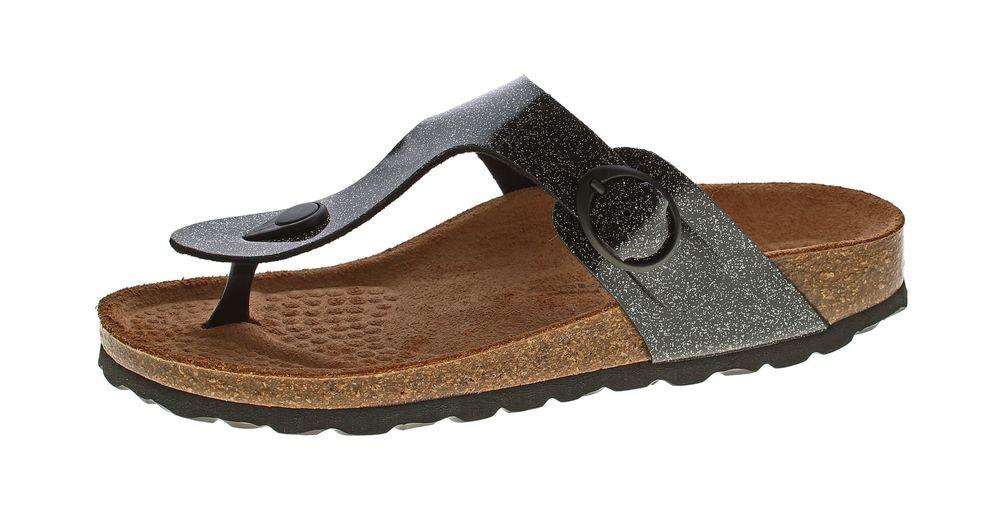 best sneakers 79725 a0aac Damen Zehentrenner Natural Power Bio Pantoletten Leder-Tieffußbett Sandalen  Schuhe Latschen 36 - 42