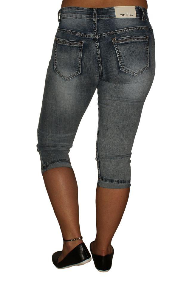 Damen Jeans Stretch 34 Hose Caprihose kurz Blau Strasssteine Übergrößen Gr. 38 50