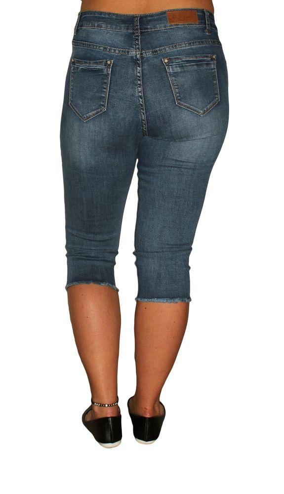 Damen Fransen Used 44 Kurz Look Jeans Hose Stretch Bleached Gr36 34 Capri 4RAL35j