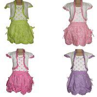 Mädchen Träger Kleid Kinder 2 Teiler Bolero Kurz Arm Taschen Gr. 98/104-158/164 – Bild 1