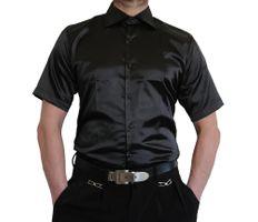 Herren Designer Glanzhemd kurzarm Hemd bügelleicht Satin Farben New Kent Kragen kurz arm Gr. M-3XL – Bild 2