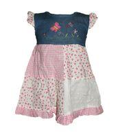 Mädchen Sommer Jeans Kleid Mini Kurz Arm Rüschen Aufnäher Mehrfarbig Gr. 80/86-104/110 – Bild 2