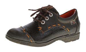 Damen Comfort echt Leder Halb Schuhe TMA 1818  Reptil Print Schnürer Used Look Gr. 36-42 – Bild 2
