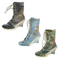 Damen Stiefeletten Keil Absatz Stiefel Wedges Stoff Schuhe Batik-Look Muster variieren Gr. 36-41 – Bild 1