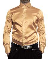 Herren Designer Glanz Hemden B-Ware Hemd PMK14GPM Satin klassischer Kent Kragen Lang Arm 2. Wahl – Bild 10