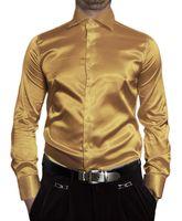 Herren Designer Glanz Hemden B-Ware Hemd PMK14GPM Satin klassischer Kent Kragen Lang Arm 2. Wahl – Bild 4