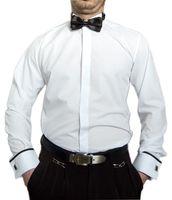 Designer Herren Hemden B-Ware PMS12PM Lang Arm Smoking Kragen Slim Fit Hochzeit Hemd Fliege 2. Wahl – Bild 1