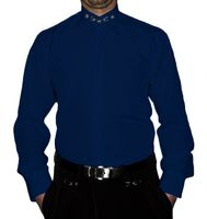 Designer Herren B-Ware Lang Arm Hemd PMS6FPM Stick Muster Steh Kragen Hemden 2. Wahl – Bild 3