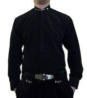 Designer Herren B-Ware Lang Arm Hemd PMS6FPM Stick Muster Steh Kragen Hemden 2. Wahl – Bild 4