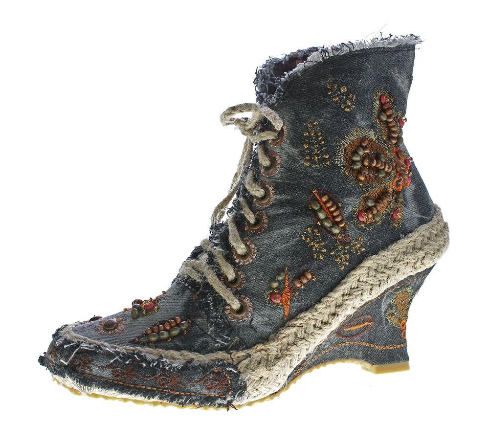 be269f7c31e93e Damen Stiefeletten Keil Absatz Wedges Batik-Look Stoff Schuhe Stiefel Muster  variieren 36-41