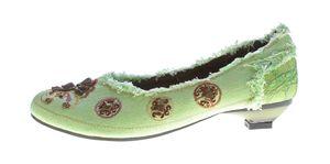 Damen Ballerina Stoffschuhe bunt bestickt Halb Schuhe Pfennig Absatz Gr. 36-41 – Bild 16