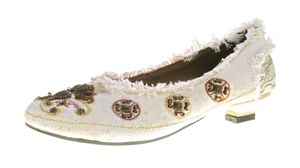 Damen Ballerina Stoffschuhe bunt bestickt Halb Schuhe Pfennig Absatz Gr. 36-41 – Bild 3