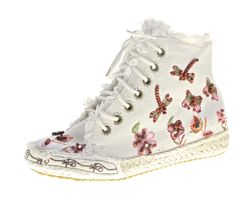 Damen Sneaker Stoffschuhe flach bunt bestickt Perlen Mid Cut Halb Schuhe Muster variieren Gr. 36-41 – Bild 4