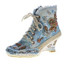 Damen Stiefeletten Kurz B-Ware Keil Absatz Batik-Look Stoff Schuhe Muster variieren 36-41 2.Wahl – Bild 3