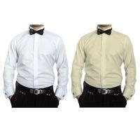 Designer Herren Hemden B-Ware Hochzeit Hemd Slim Fit Smoking Kragen Fliege PRS14PR Lang Arm 2. Wahl