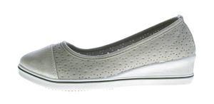 Damen Keil Ballerina Kunst Leder Halb Schuhe Wedges matt glänzend 36 - 41 – Bild 3