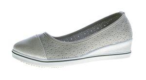 Damen Keil Ballerina Kunst Leder Halb Schuhe Wedges matt glänzend 36 - 41 – Bild 1