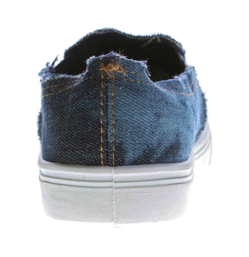 new style a401a 20102 Damen Slipper Jeans-Stoff Halb Schuhe Blau Ballerinas flach Used-Look  Sneakers 36 - 41