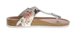 Damen Zehentrenner Leder-Tieffußbett Sandalen Pantoletten Schuhe Latschen Blumenmuster 36 - 41 – Bild 4