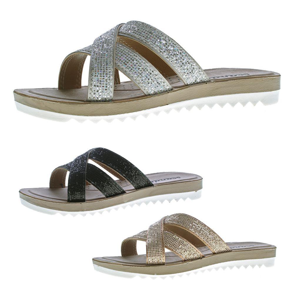 schön billig uk billig verkaufen hochwertige Materialien Details zu Damen Pantoletten Sandaletten Riemchen Glitzer Latschen Glanz  Soft-Fußbett 36-42