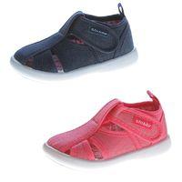 Kinder Sandalette geschlossen Mädchen Freizeit Stoff Schuh Glitzer Klettverschluss 19-24