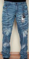 Designer Herren Blue Jeans Blau Crash Hose Kosmo Lupo K & M Hellblau Crashjeans – Bild 1