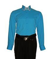 Designer Herren Hemd klassischer 3 Kragen 2 Knopf Herrenhemd Slim Fit  tailliert Langarm Schwarz Weiß Lila Pink – Bild 6