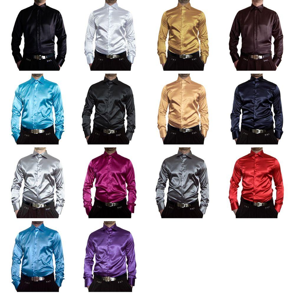 Glanz Designer Herren Hemd Satin Slim Fit tailliert Bügelfrei   eBay a468452787