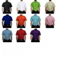 Designer Herren Kurz Arm Hemd Bügelfrei klassischer Kragen Herrenhemd Kentkragen viele Farben Kurzarm – Bild 1
