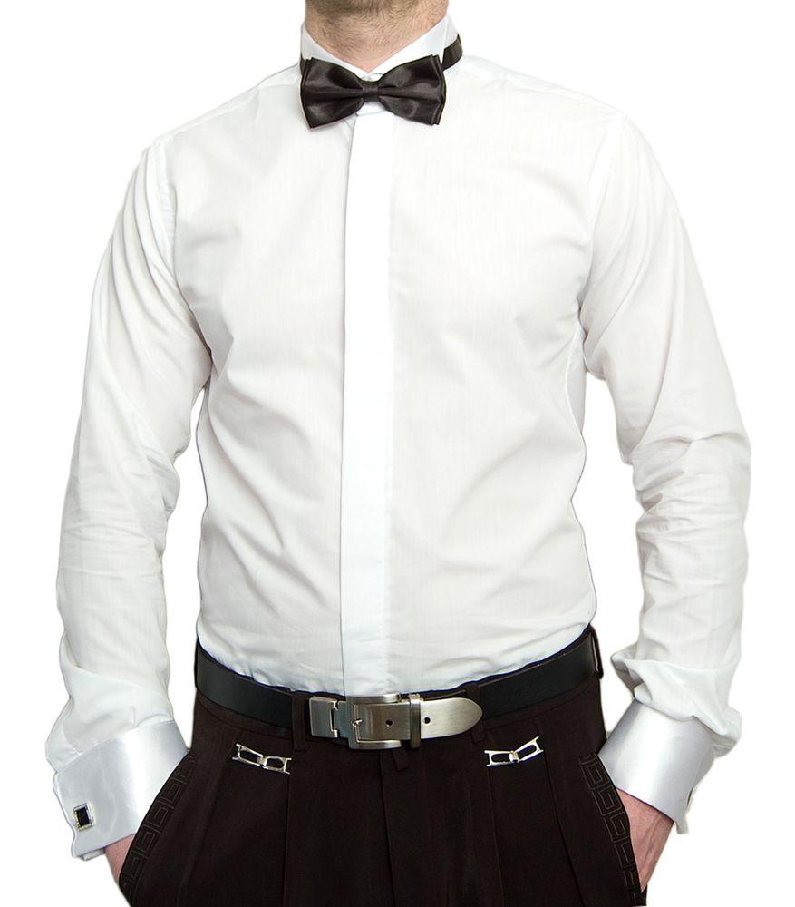 Designer Herren Hemd Smokinghemd Weiß + Fliege Schwarz