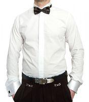 Designer Smokinghemd Weiß mit Schwarzer Fliege Herren Hemd mit Manschettenknöpfe Smoking Kragen Langarm  – Bild 2