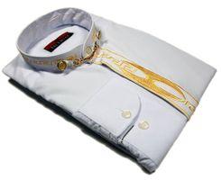 Designer  Herren Stehkragen Hemd S3 Schwarz o Weiß  Langarm Herrenhemd Stehkragenhemd – Bild 6