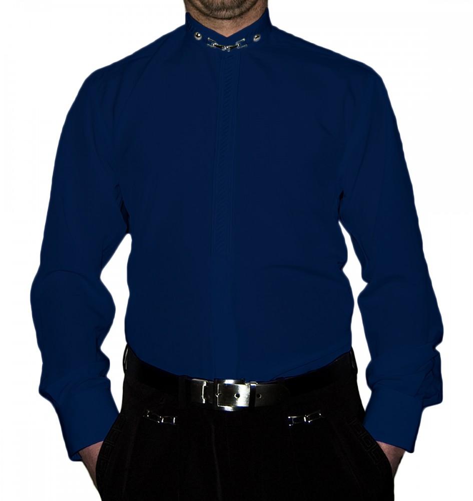 hot sale online 5aa41 07431 Designer Herren Stehkragen Hemd S6F Weiß Schwarz Blau mit Stick Langarm  Herrenhemd Stehkragenhemd