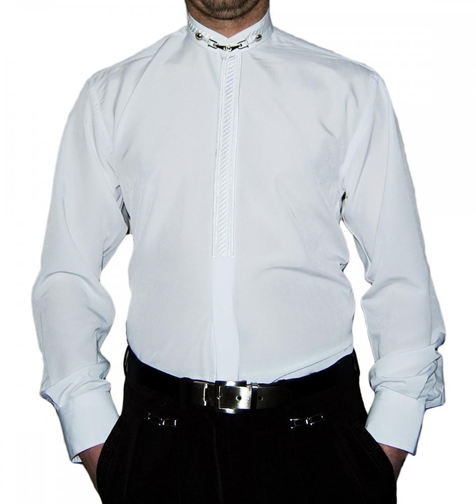 hot sale online 3aa63 cf68d Designer Herren Stehkragen Hemd S6F Weiß Schwarz Blau mit Stick Langarm  Herrenhemd Stehkragenhemd