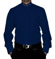 Designer Herren Stehkragen Hemd S6F Weiß Schwarz Blau mit Stick Langarm Herrenhemd Stehkragenhemd – Bild 4