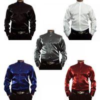 Designer Glanzhemd S8 Schwarz Weiß Blau Rot Silber Glanz Stehkragen Herren Hemd Langarm Stehkragenhemd Herrenhemd – Bild 1