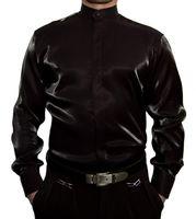 Designer Glanzhemd S8 Schwarz Weiß Blau Rot Silber Glanz Stehkragen Herren Hemd Langarm Stehkragenhemd Herrenhemd – Bild 2