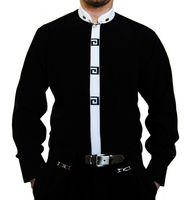 Designer Stehkragen Herren Hemd Bügelfrei S4G Weiß o Schwarz Stehkragenhemd Stick Langarm   – Bild 3