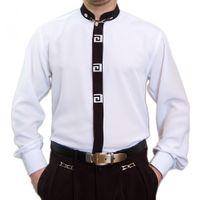 Designer Stehkragen Herren Hemd Bügelfrei S4G Weiß o Schwarz Stehkragenhemd Stick Langarm   – Bild 2