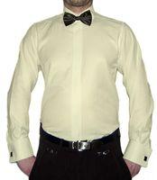 Smoking Designer Hemd mit Schwarzer Fliege Slim Fit verschiedene Farben mit Struktur Manschettenknöpfe New Kent Kragen Langarm  – Bild 3