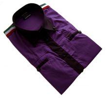 Herren Designer Hemd Kurzarm tailliert klassischer Kragen Slim Fit Schwarz Weiß Violett – Bild 3