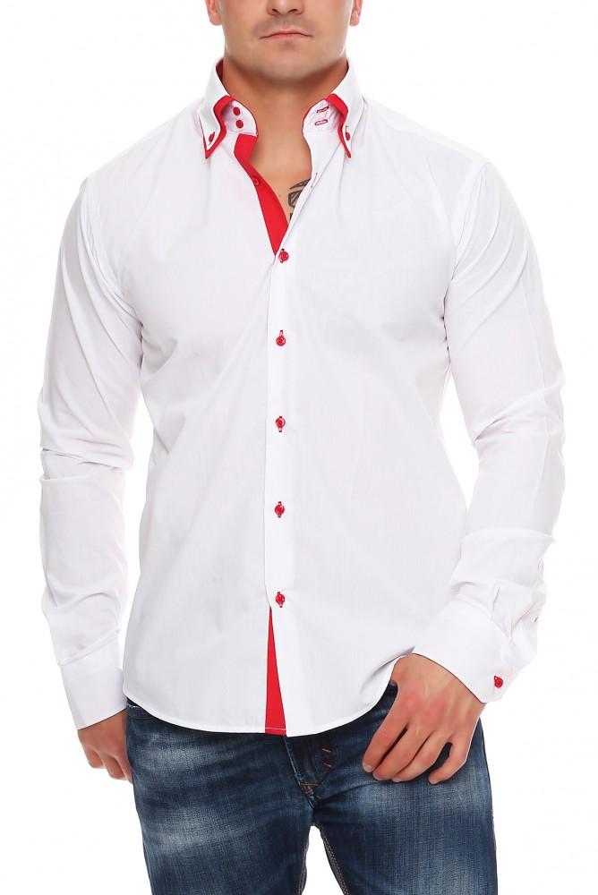 herren designer hemd langarm tailliert 2 kragen 2 knopf herrenhemd slim fit b gelfrei herren. Black Bedroom Furniture Sets. Home Design Ideas