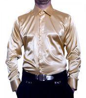 Herren Designer Glanz Hemd bügelleicht Schwarz Weiss Rot Pink Hellblau Gold Silber Beige New Kent – Bild 4
