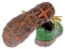Damen Leder Schuhe Comfort Sneakers Turnschuhe Grün Schwarz Rot Ziernähte Gelb TMA Eyes – Bild 7