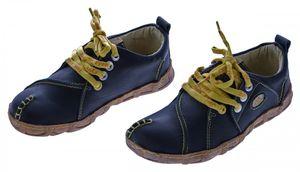 Damen Leder Schuhe Comfort Sneakers Turnschuhe Grün Schwarz Rot Ziernähte Gelb TMA Eyes – Bild 2
