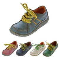 Leder Damen Halb Schuhe Comfort Sneakers Used Look Grün Blau Rot Turnschuhe TMA Eyes – Bild 1