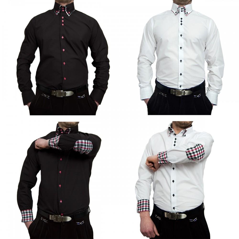 herren designer hemd mit ellenbogen patches klassischer 2 kragen 2 knopf slim fit schwarz wei. Black Bedroom Furniture Sets. Home Design Ideas
