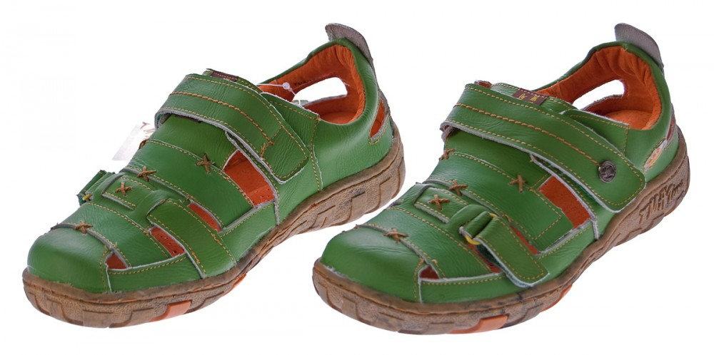 Sandalen TMA Sandaletten Halbschuhe Schuhe Klettverschluss Damen Echt Leder Leder 1667 luTFK1Jc3