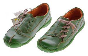 Comfort Damen Leder Schuh von TMA EYES Schwarz Rot Grün Used Look Schuhe echt Leder Halbschuhe – Bild 8