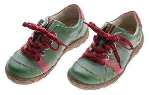 Leder Damen Halb Schuhe TMA Comfort Sport Sneakers Schnürer Used Look Schwarz Grün Rot Turnschuhe – Bild 2